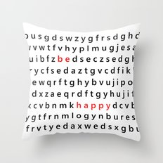 Be Happy - Inspirational, happy, smiley, smiling quote, positive message, black and white typography Throw Pillow