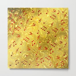red music notes in golden festive paper background Metal Print