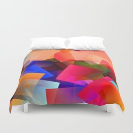 Play with transparent cubes and plates Duvet Cover