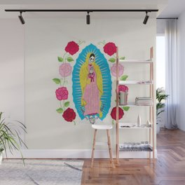 Skull Virgin of Guadalupe_ Hand embroidered Wall Mural