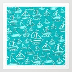 Sail Away Turquoise  Art Print
