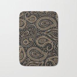 Beautiful Pattern of Paisley Art, Flowers, Doodles - Gradient Gold Pattern Bath Mat