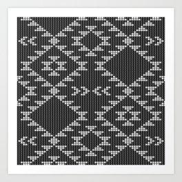 Southwestern textured navajo pattern in black & white Art Print
