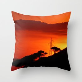 Sunrise Sky Silhouette Pine Trees Throw Pillow