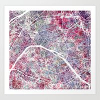 paris map Art Prints featuring Paris Map by MapMapMaps.Watercolors