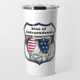 USA Patriotic independence day 4th July Cow Travel Mug