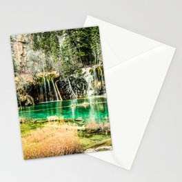 Natures Eternal Beauty // Long Exposure Waterfall and Teal Water Pond in the High Forest Stationery Cards