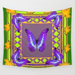 Decorative  Purple  Butterflies Green & Gold Pattern Art Wall Tapestry