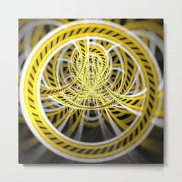 Yellow Tape Roller Coaster Ride on Fractal Rails Metal Print