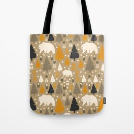 Bears in a winter forest Tote Bag