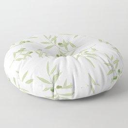 olive branch pattern design - white Floor Pillow