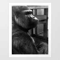ape Art Prints featuring Ape by x_al