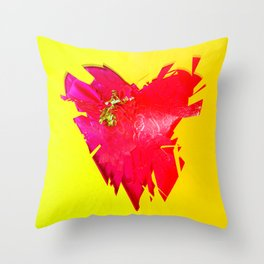 Red conceptual broken shattered heart shape with golden tassel on a rich yellow background Throw Pillow