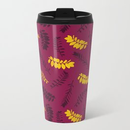 Gold Leaves Metal Travel Mug