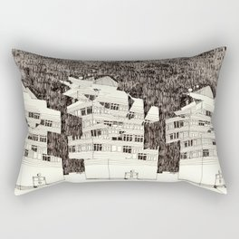 Building at Night with the Moon Rectangular Pillow