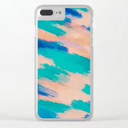 camouflage splash painting abstract in pink green and blue Clear iPhone Case