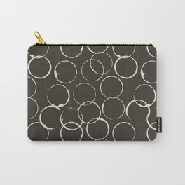 Circles Geometric Pattern Chocolate Brown Antique White Carry-All Pouch