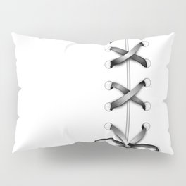 Laced Gray Ribbon on White Pillow Sham