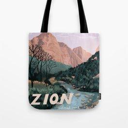 Zion National Park, Utah, USA Illustrated National Parks Tote Bag