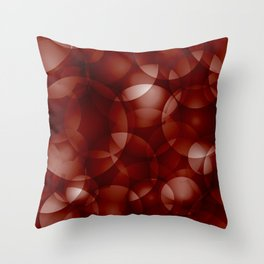 Dark intersecting burgundy translucent circles in bright colors with a brick glow. Throw Pillow