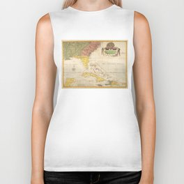 Vintage Map of The Caribbean (1754) Biker Tank