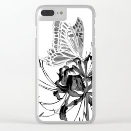 Spider Lily and Butterfly II (mirrored & inverse colour version) Clear iPhone Case