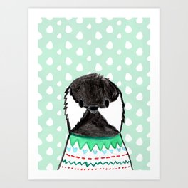 Winter Black Capped Chickadee Watercolor  Art Print