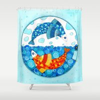 pisces Shower Curtains featuring Pisces by Sandra Nascimento