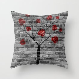 Spraypainting the forest back Throw Pillow