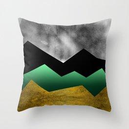 Golden Stormy Mountain No.1 Throw Pillow