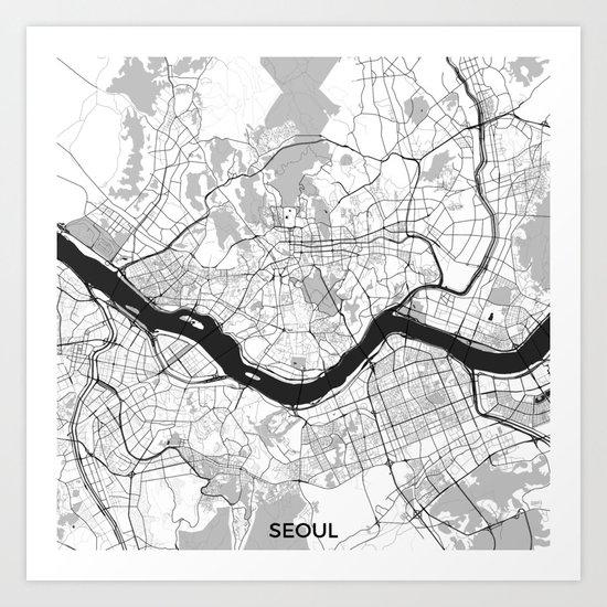 Seoul Map Gray Art Print