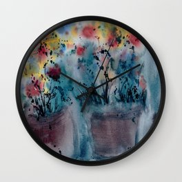 Flower Pots, An image of one my watercolor paintings Wall Clock