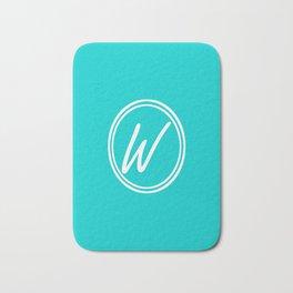 Monogram - Letter W on Cyan Background Bath Mat