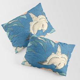 Japanese Flowers Turquoise Peach Pillow Sham
