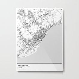 Barcelona Simple Map Metal Print