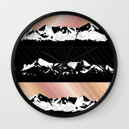 Skintones, Black and White Snowy Mountains Wall Clock