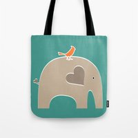 portlandia Tote Bags featuring Put a Bird on It Elephant by Elephant Love