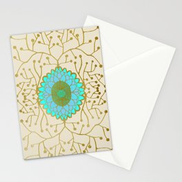 Turquoise and Gold Sunflower Stationery Cards
