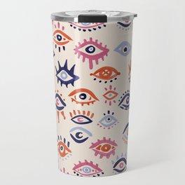 Mystic Eyes – Coral & Navy Travel Mug