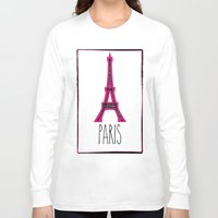 eiffel Long Sleeve T-shirts featuring Eiffel by Vintage Fox