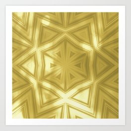 Elegant gold striped kaleidoscope with bokeh Art Print