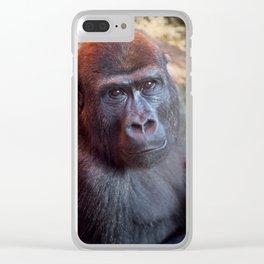 Gorilla Lope Portrait Clear iPhone Case