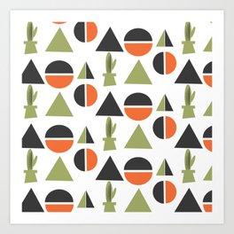 Modern Century Geometric Dessert Cactus Art Print