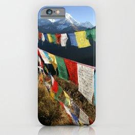 Tibetan prayer flags in Himalaya mountains iPhone Case
