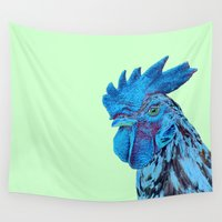 cock Wall Tapestries featuring Blue cock by Hipsterdirtbag