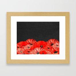 Poppies on Chalkboard Framed Art Print