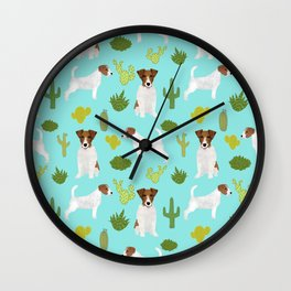 Jack Russell Terrier cactus desert custom pet portrait dog art by pet friendly Wall Clock