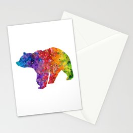 Bear Art Colorful Watercolor Art Gift Animals Art Wildlife Nature Gift Stationery Cards