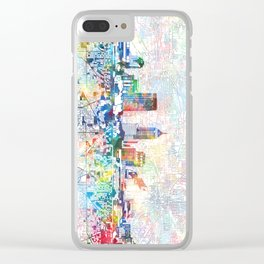 indianapolis city skyline watercolor 7 Clear iPhone Case