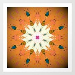 Bright Orange Mandala Design Art Print